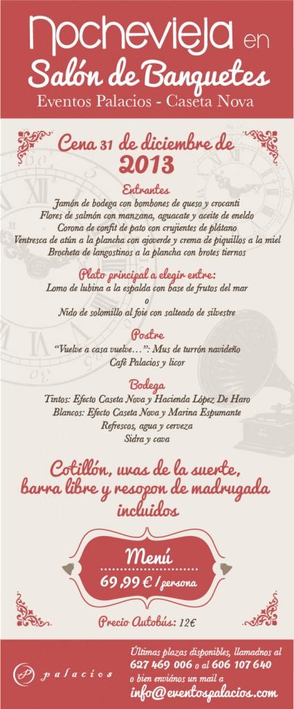 Menú Nochevieja 2013 Eventos Palacios
