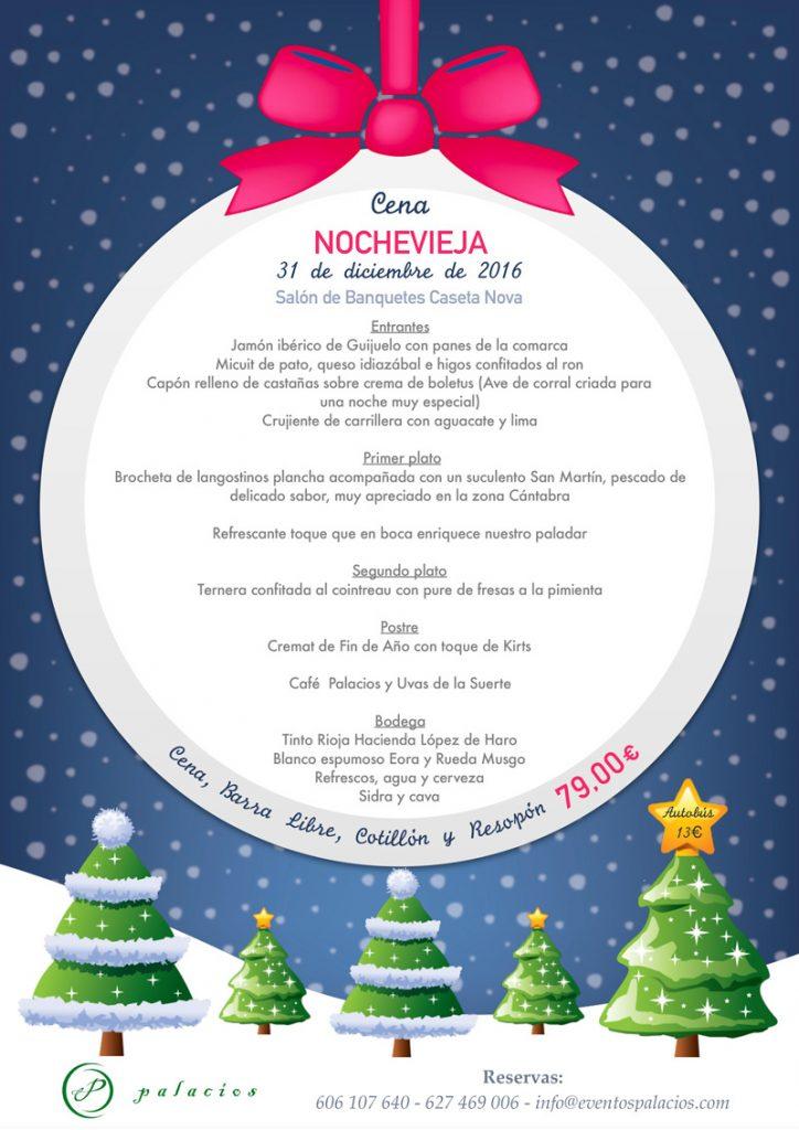 Menú Nochevieja Salon de Banquetes Caseta Nova